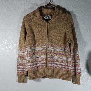 Tiara Sweater Medium oatmeal multi colored zipper